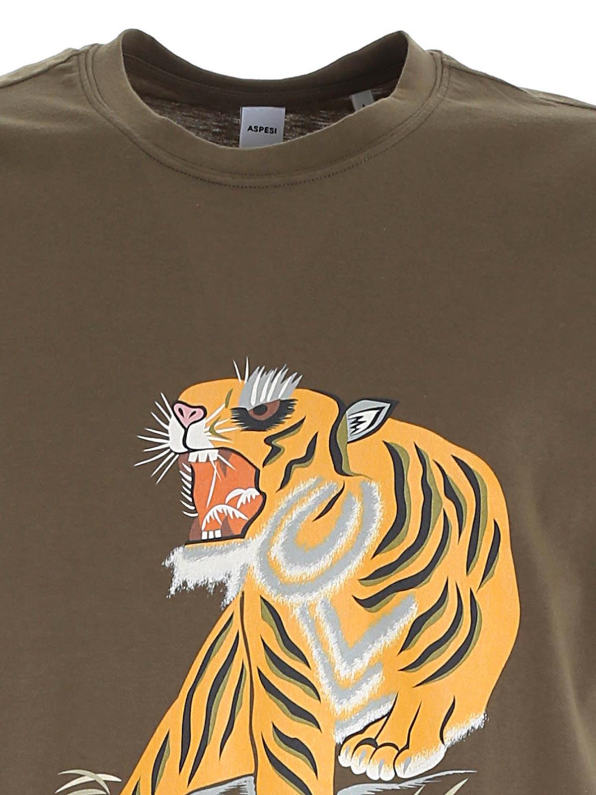 Picture of ASPESI | Men's Tiger Print T-shirt