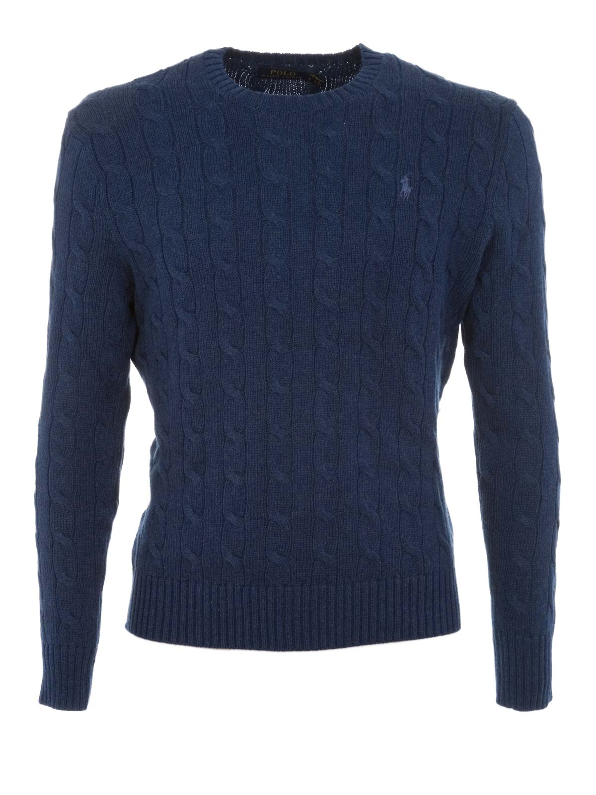 4144183dfcc9 POLO RALPH LAUREN Cable-Knit Cotone Sweater Campus Blue Heather ...