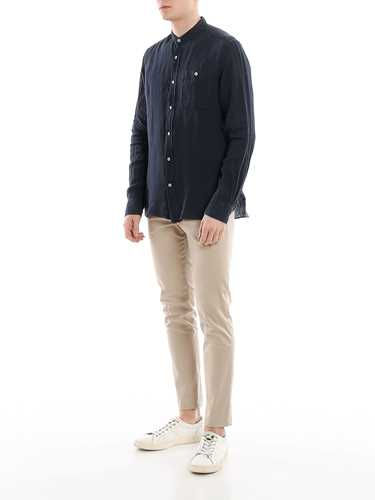Picture of WOOLRICH | Men's Mandarin Linen Shirt