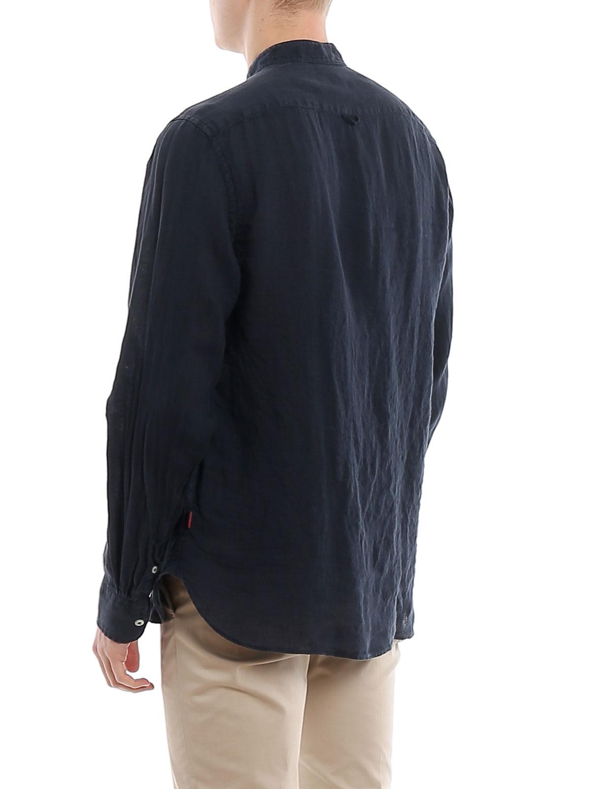 Picture of WOOLRICH | Men's Mandarin Linen Shirt