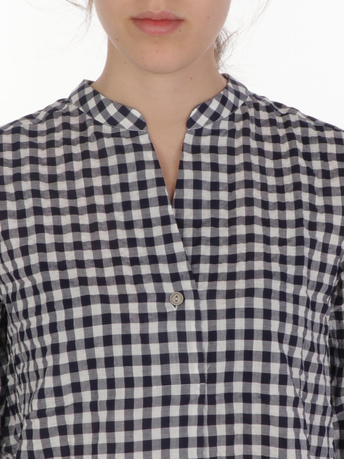 Picture of CALIBAN | Women's Checked Mandarin Collar Shirt