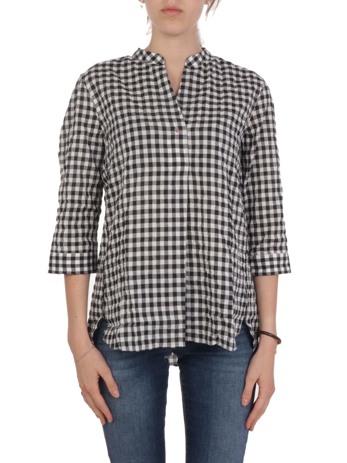 Picture of CALIBAN | Women's Checked Mandarin Collar Shirt