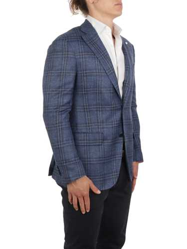 Picture of LUIGI BIANCHI MANTOVA | Men's Wool and Silk Checked Blazer