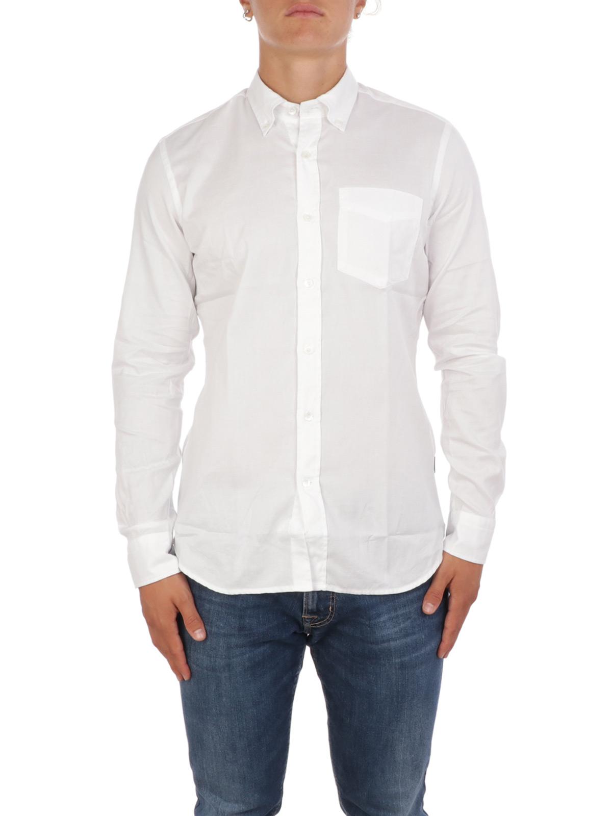Taglia 44 Bianco Camice Uomo Cotone