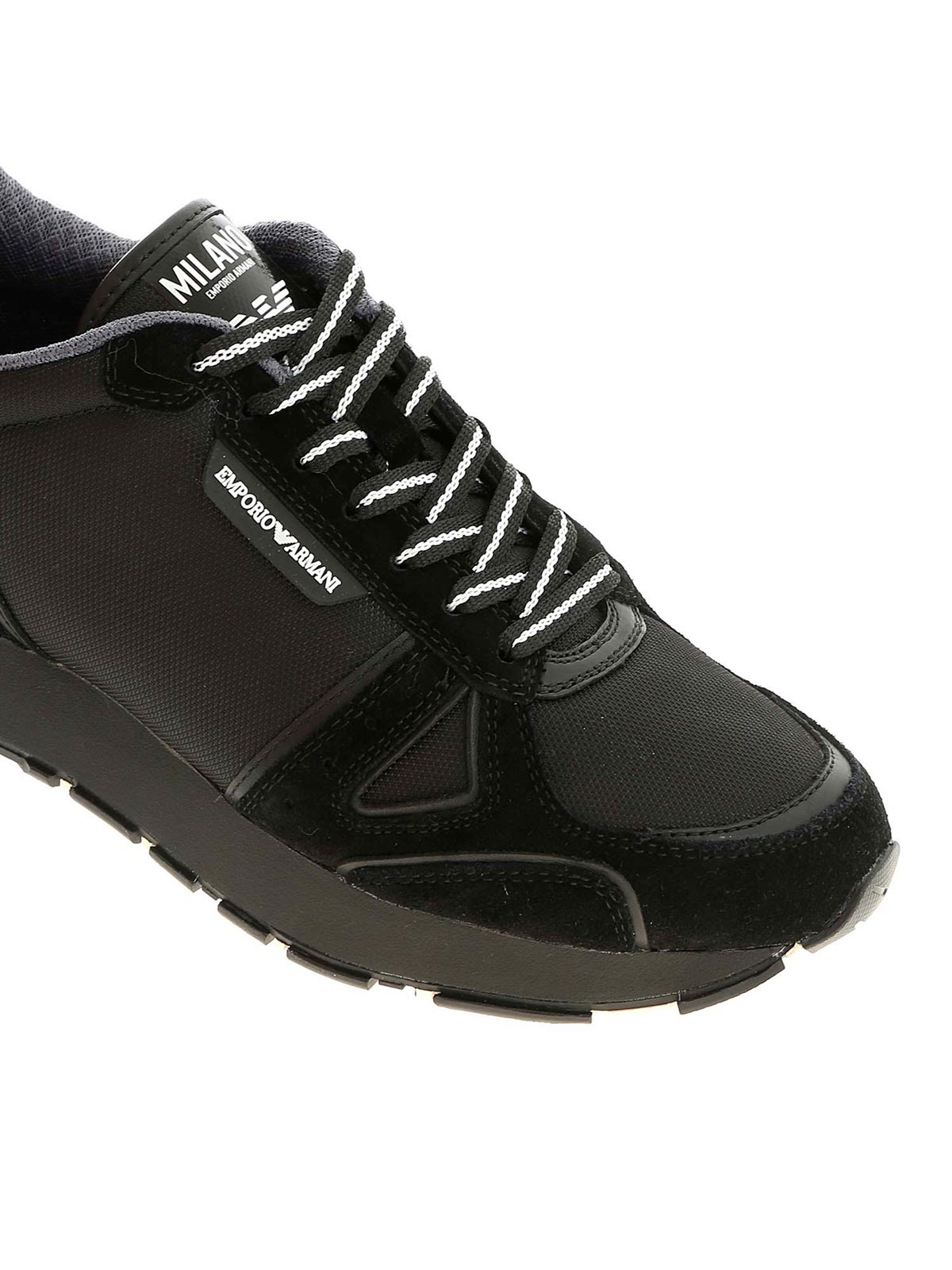 Picture of EMPORIO ARMANI   Men's Bicolor Leather Sneakers