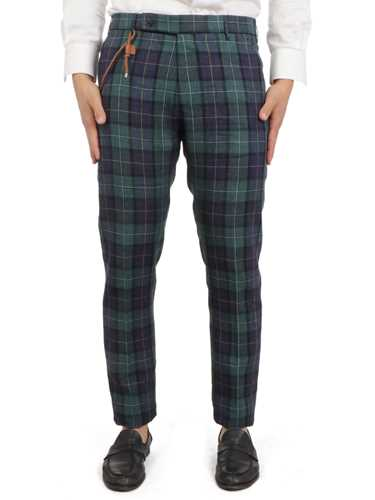 Picture of BERWICH | Men's Barber Check Trousers