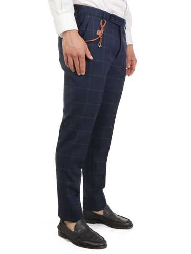 Picture of BERWICH | Men's Linen Check Trousers