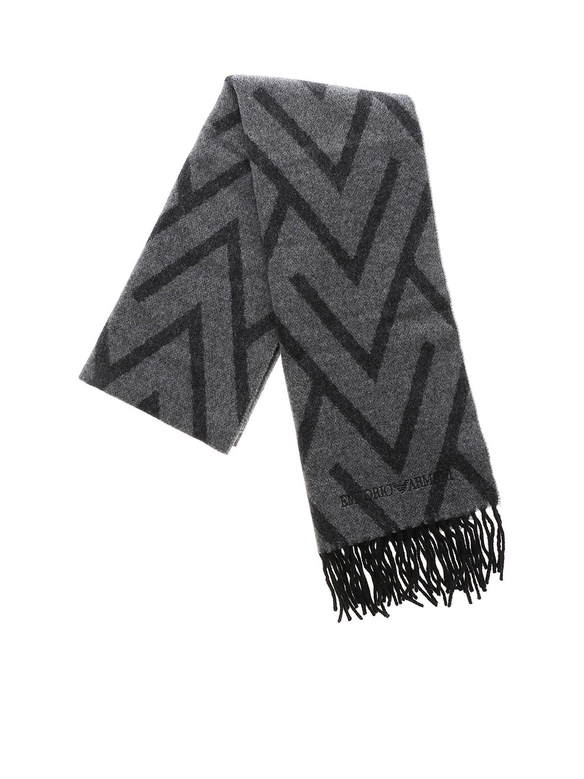 71c02aa31 EMPORIO ARMANI Men's Cashmere Scarf Grey/Black | 6250709A396 | Botta ...