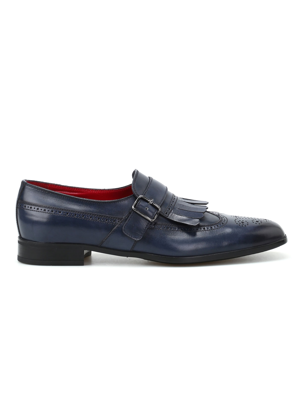 Picture of BARRETT | FOOTWEAR Monk strap brogue blu in pelle