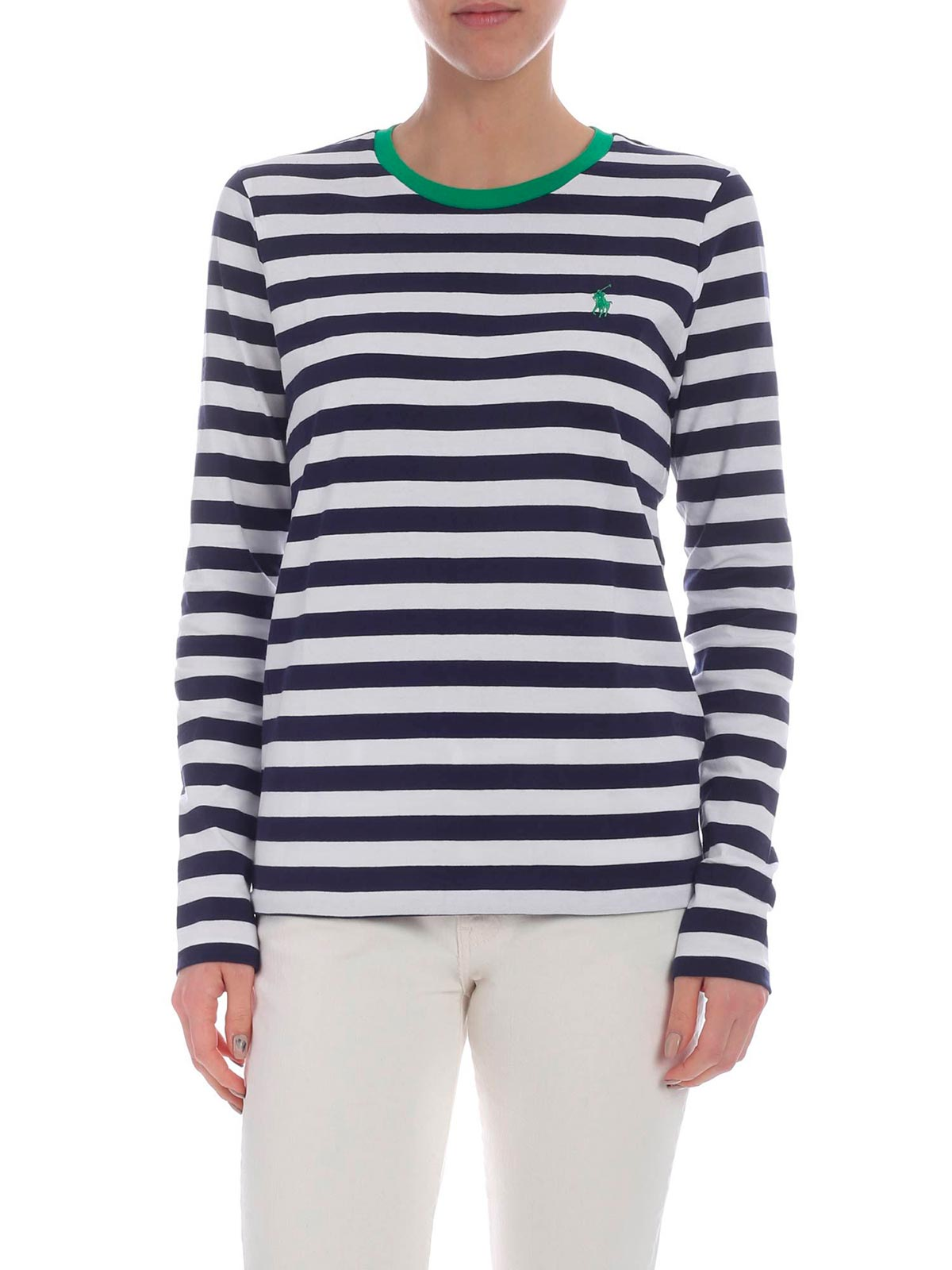 Lauren by Ralph Lauren Womans White And Navy Stripe Sweater~ NWT