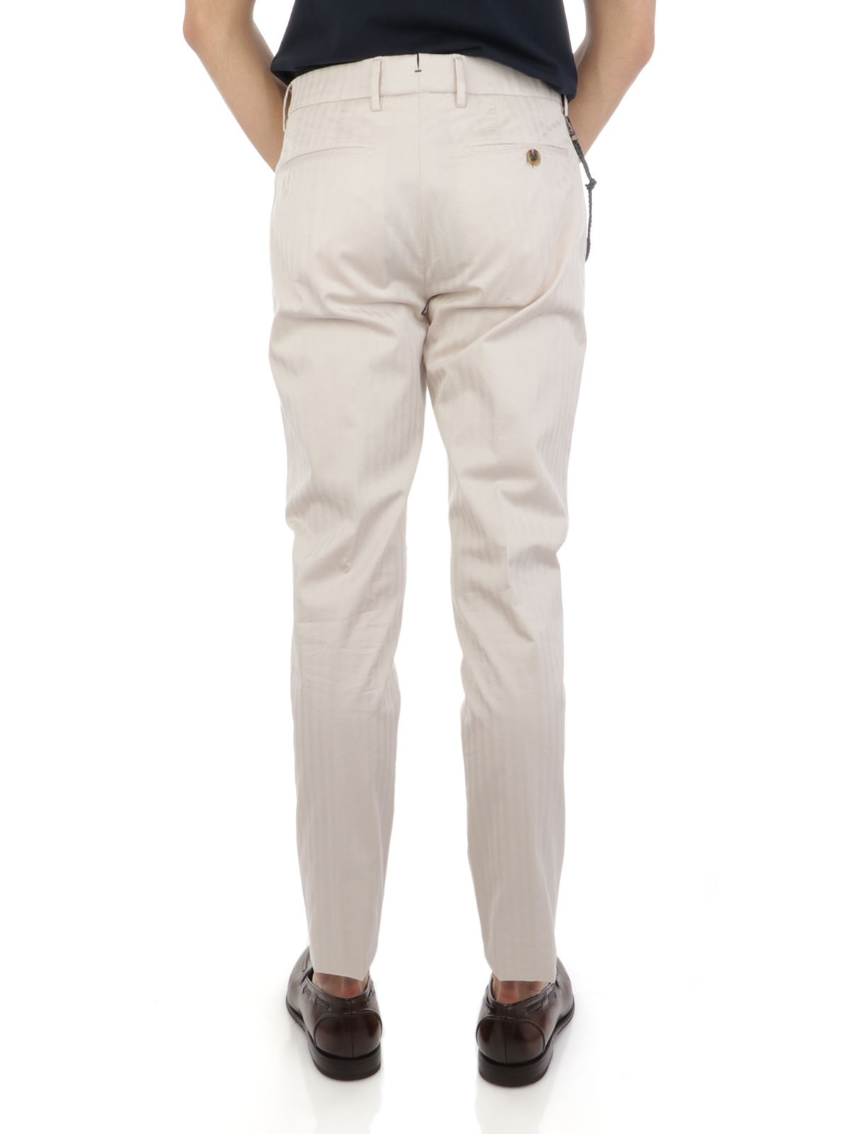 Picture of BERWICH | Men's Striped Cotton Retro Trousers