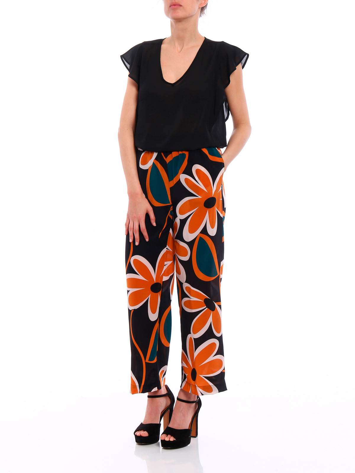 Picture of ASPESI | Women's Maxi Flower Print Trousers