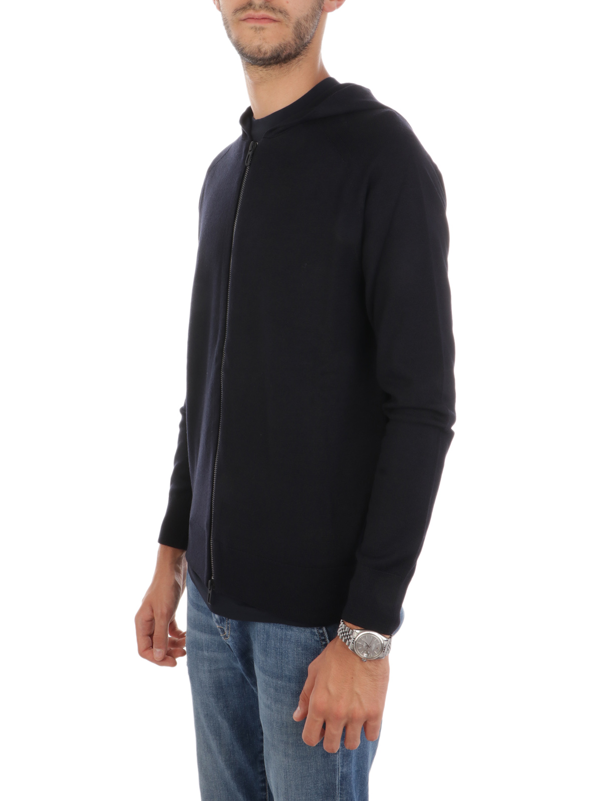 Picture of EMPORIO ARMANI | Men's Wool Cardigan with Hood