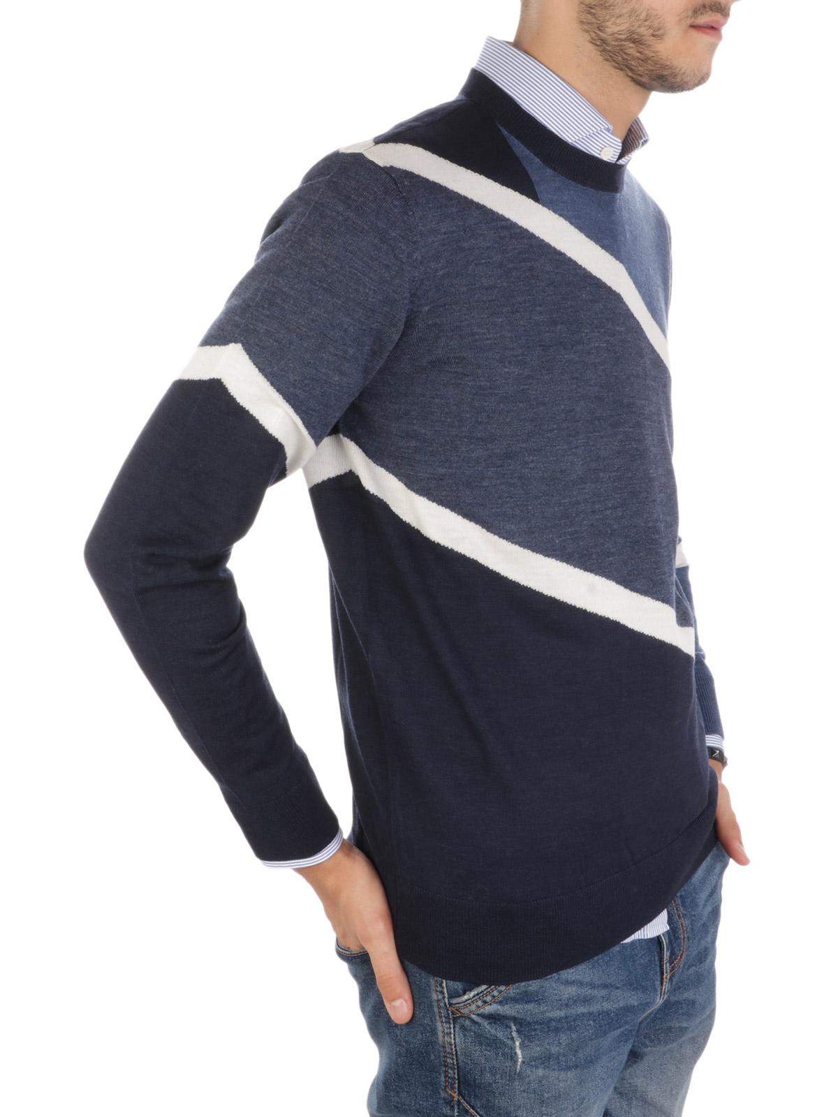 Picture of EMPORIO ARMANI | Men's Tricolor Wool Pullover