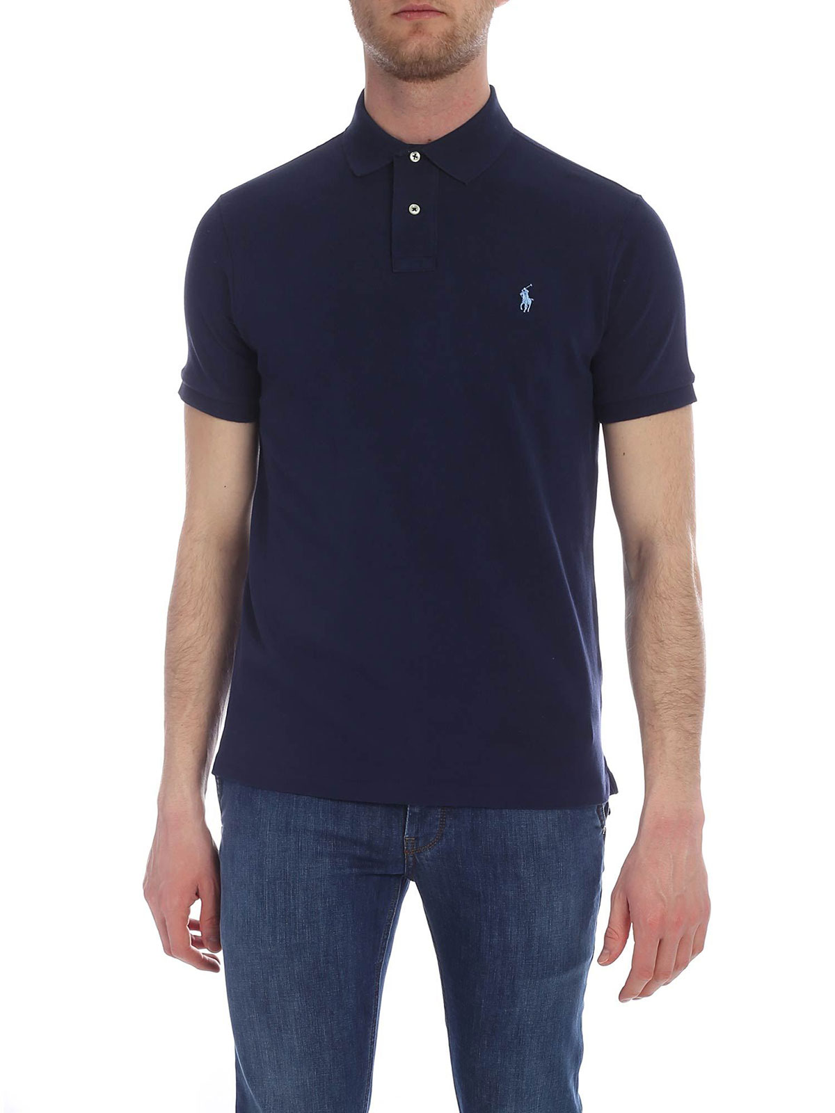 818707bade61c POLO RALPH LAUREN Men s Slim Fit Polo Shirt Navy Blue