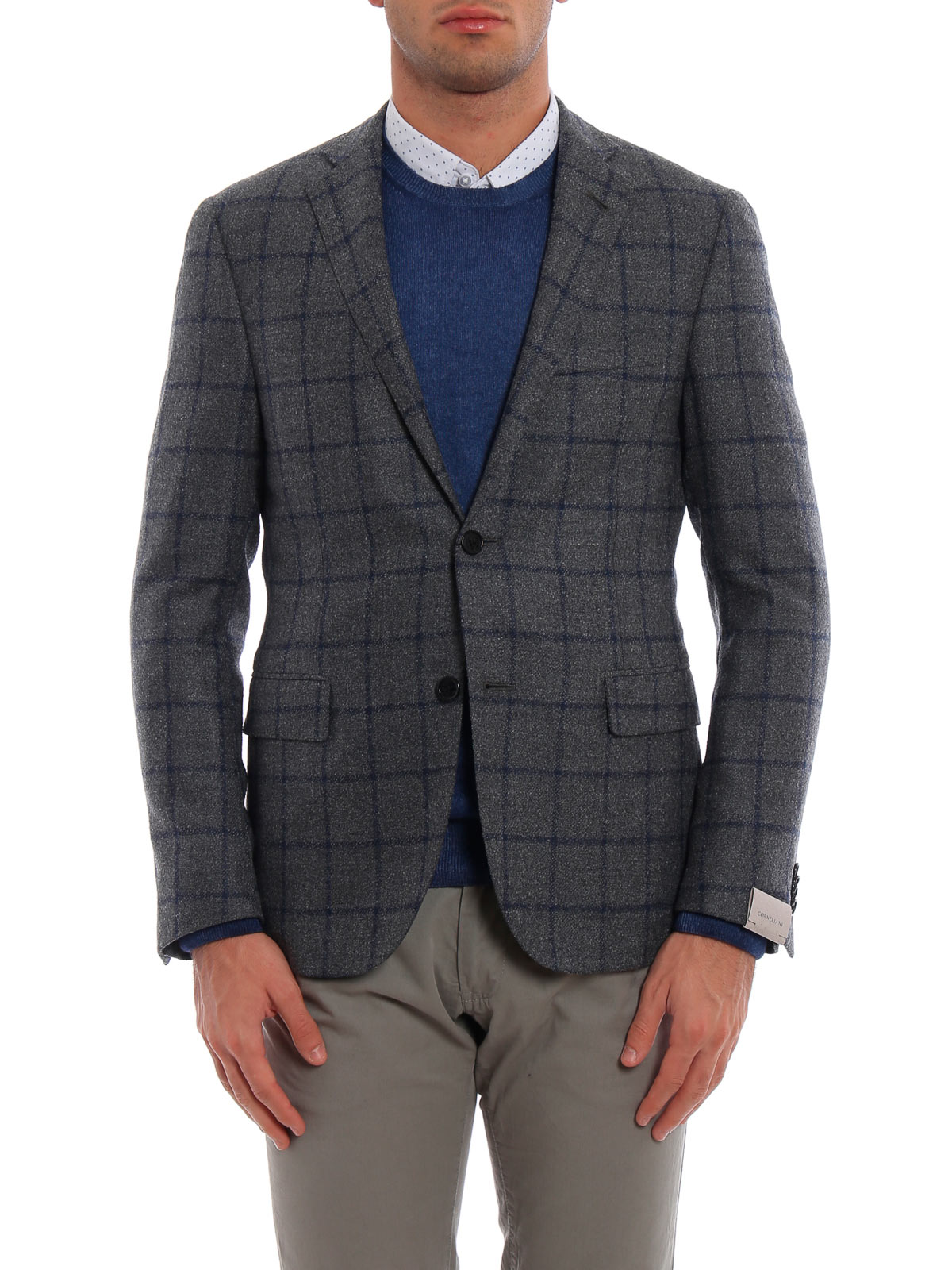 Picture of CORNELIANI | Men's Check Single-Breasted Blazer