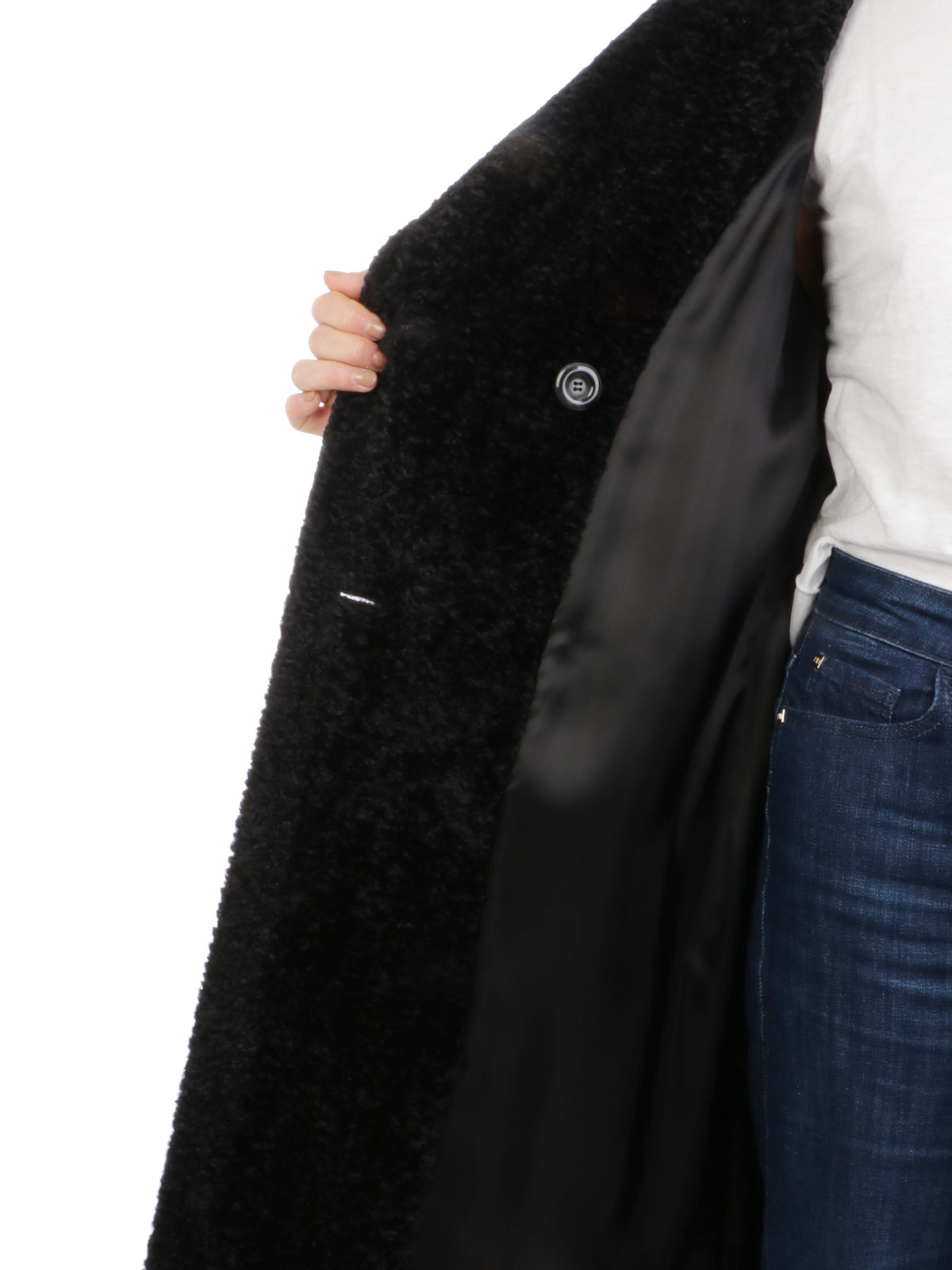 Picture of One | Coat Cintia Ecopelliccia Nero