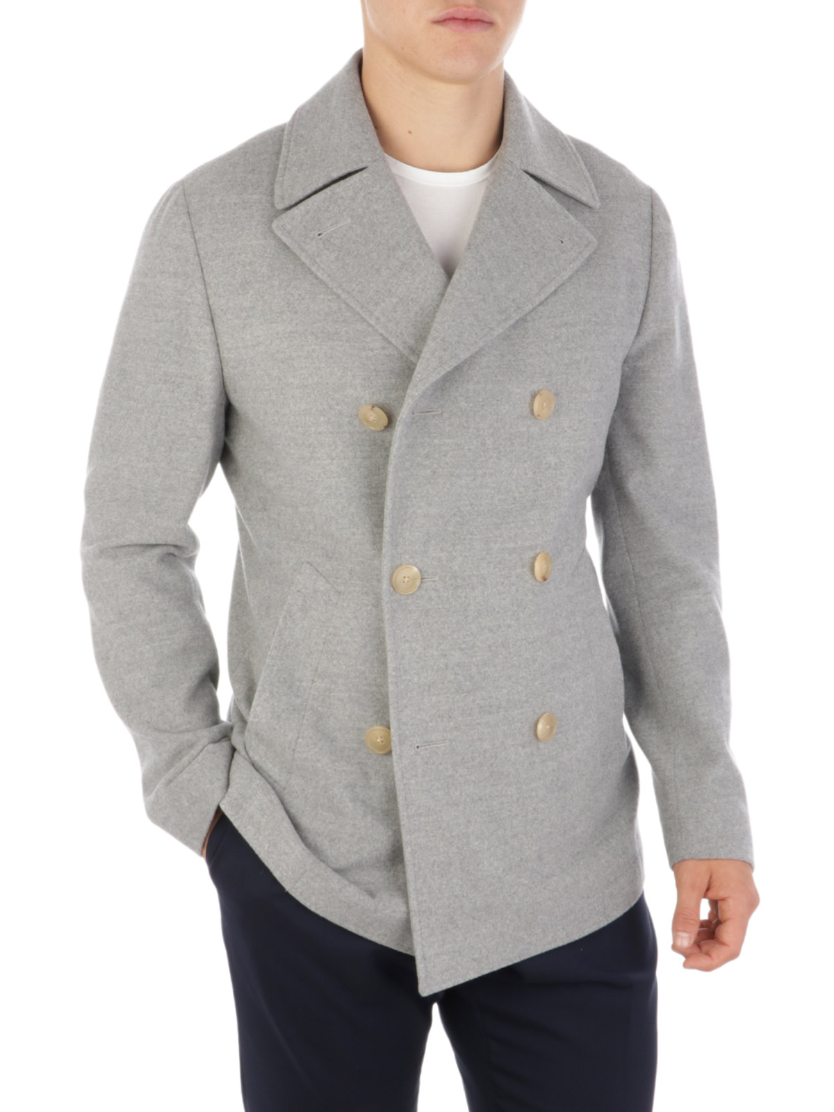 Picture of CORNELIANI | Men's Double-Breasted Virgin Wool Coat