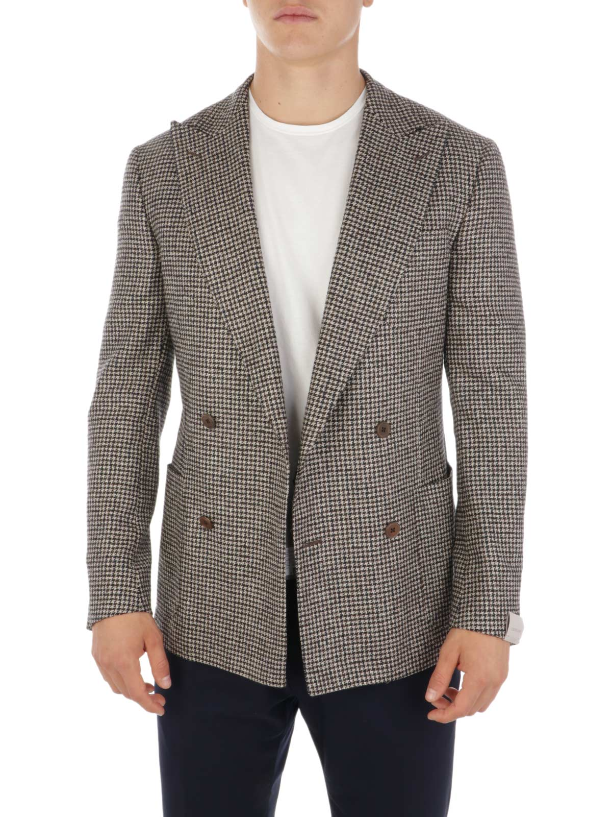 Picture of CORNELIANI | Men's Double-Breasted Wool and Silk Blazer