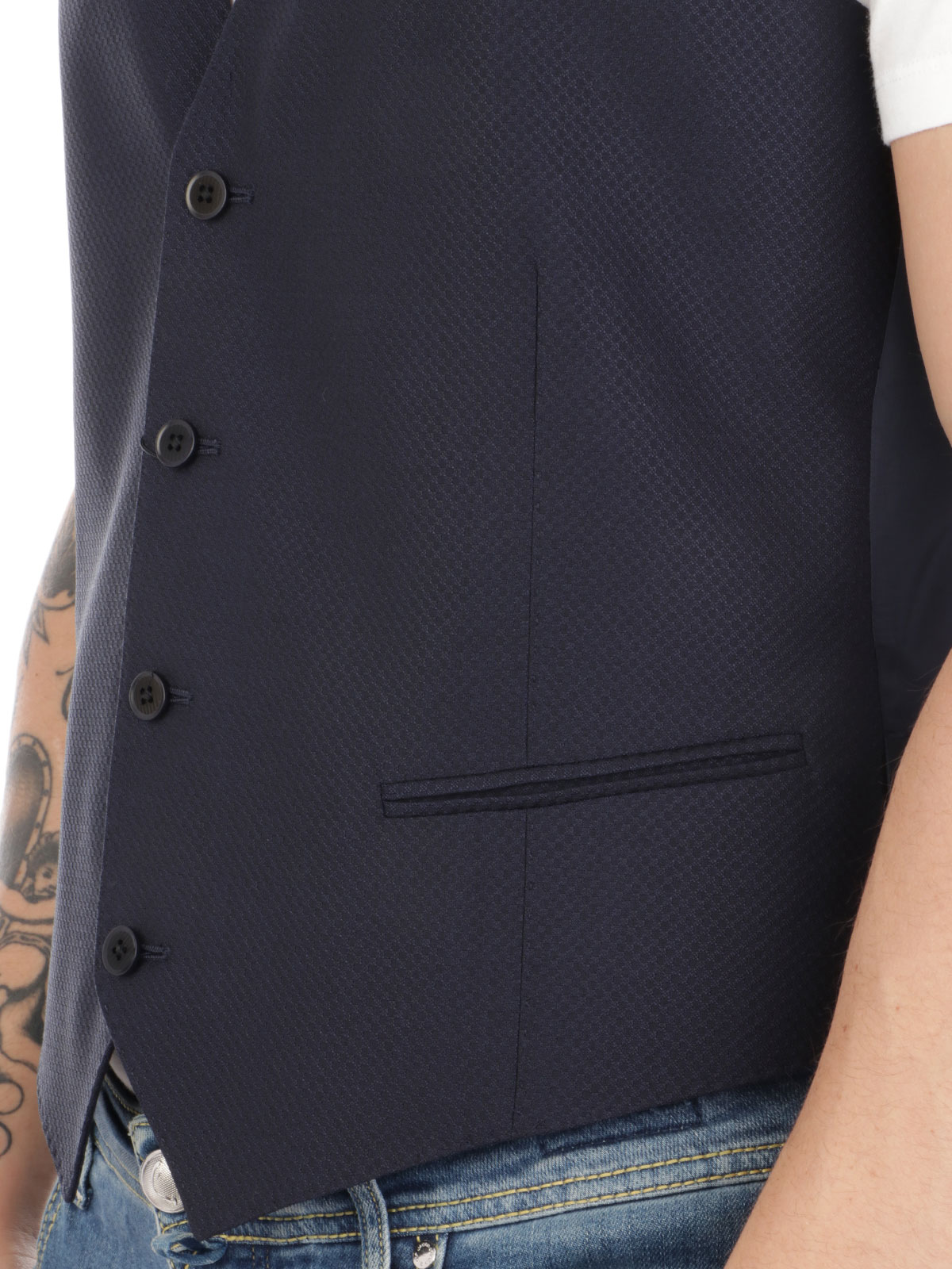 Picture of EMPORIO ARMANI | Men's Wool and Silk Waistcoat